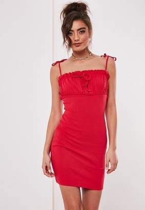 Missguided Red Ribbed Frill Cami Bodycon Mini Dress