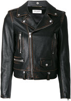 Saint Laurent Classic Bouche motorcycle jacket - women - Calf Leather/Polyester/Cupro/Cotton - 36