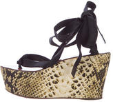 Lanvin Snake-Print Wedge Sandals
