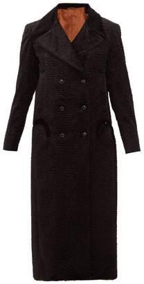 BLAZÉ MILANO Double Breasted Wave Effect Velvet Faux Fur Coat - Womens - Black