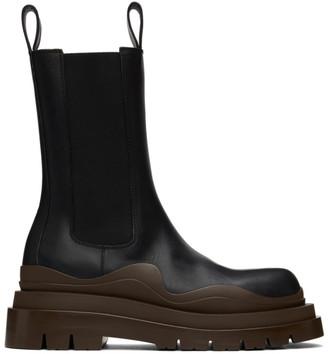 Bottega Veneta Black and Brown Medium Tire Chelsea Boots