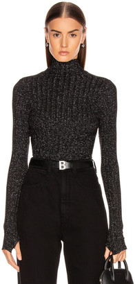 Enza Costa Lurex Rib Cropped Turtleneck Top in Black & Silver | FWRD