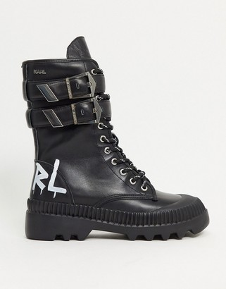 Karl Lagerfeld Paris high cuff buckle chunky boots in black