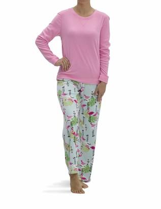 Hue Women's Fleece Long Sleeve Top and Pant 2 Piece Pajama Set