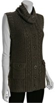 cedar merino wool cable button front vest
