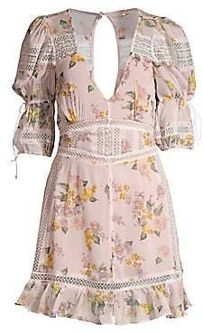 For Love & Lemons Women's Isadora Lace-Trim Floral Dress