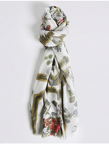 M&S Collection Framed Floral Print Scarf