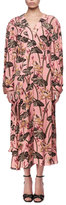 Loewe Printed Long-Sleeve Midi Dress, Pink/Black