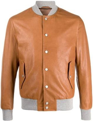 Eleventy Contrasting-Collar Bomber Jacket