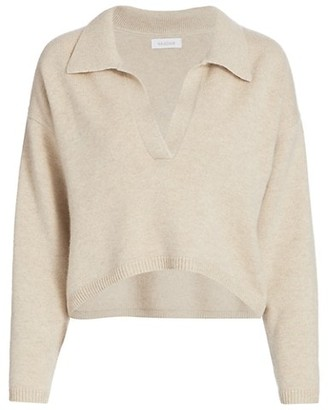 Naadam Cropped V-Neck Cashmere Polo Sweater