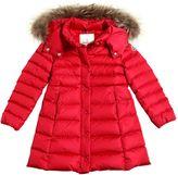 Moncler New Neste Nylon Down Coat W/ Fur Trim