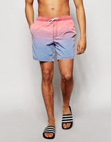 Asos Swim Shorts In Red With Acid Wash Dip Dye In Mid Length