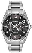Citizen Watch Men's Quartz Watch with Black Dial Analogue Display and Silver Stainless Steel Bracelet AO9020-84E