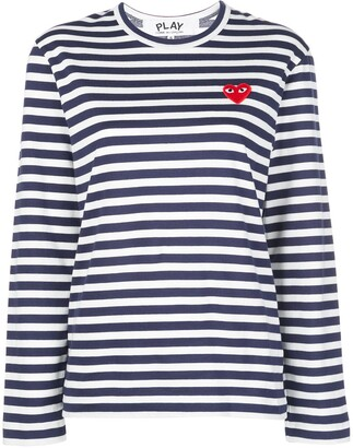 Comme des Garcons Striped Heart Long-Sleeve Top