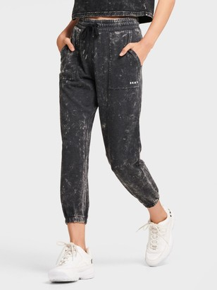 DKNY Women's Acid Wash Cropped Jogger - Black - Size L