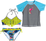 Big Chill Lime Juice Fringe-Accent Bikini & Flamingo Rashguard - Girls