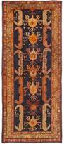 "Ecarpetgallery One-of-a-Kind Ardabil Hand-knotted Runner 4'8"" x 11' Wool Dark Navy/Orange Area Rug"