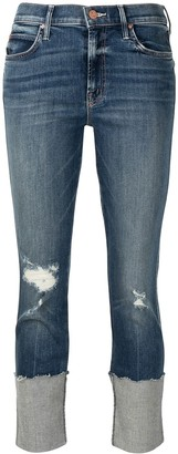 Mother Mid-Rise Slogan-Embroidered Jeans
