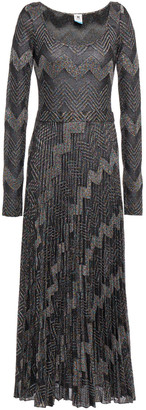 M Missoni Pleated Metallic Crochet-knit Midi Dress