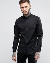 Asos Skinny Shirt In Black With Stud Collar