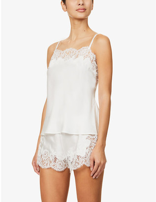 Marjolaine Gemma lace-trimmed silk-satin camisole