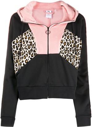 Puma Zip Up Leopard Print Hoodie
