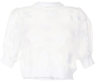 Cecilie Bahnsen Frank semi-sheer cropped top
