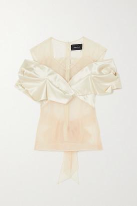 Simone Rocha Bow-detailed Tulle And Silk-satin Top - Cream
