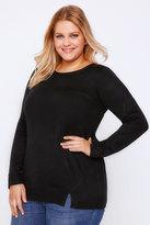 Yours Clothing Black Longline Jumper With Zip & Hem Details