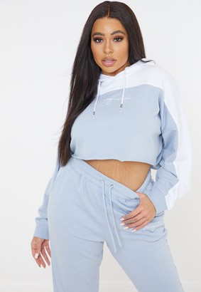 Missguided Plus Size Blue Co Ord Cropped Hoodie