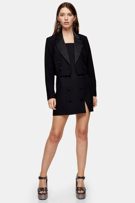 Topshop Black Crop Tuxedo Double Breasted Blazer