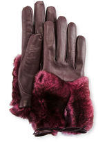 Imoni Leather & Rabbit Fur Gloves, Galaxy/Pink