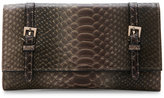 Urban Expressions Grey Michelle Snake-Embossed Flap Wallet