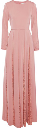 Mikael Aghal Pleated Corded Lace-paneled Satin-crepe Gown