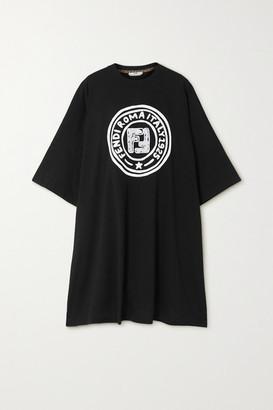 Fendi Embroidered Printed Cotton-jersey Mini Dress - Black