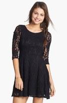 Lush Three Quarter Sleeve Lace Skater Dress (Juniors)