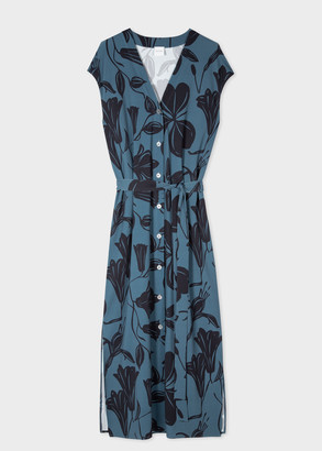 Women's Petrol Blue 'Floral Cutout' Print Dress