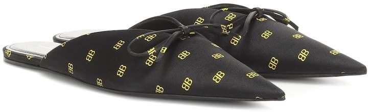 Balenciaga BB Knife satin slippers