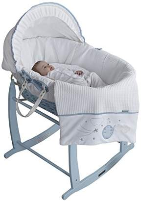 Clair De Lune Wicker Moses Basket, Blue, Over The Moon
