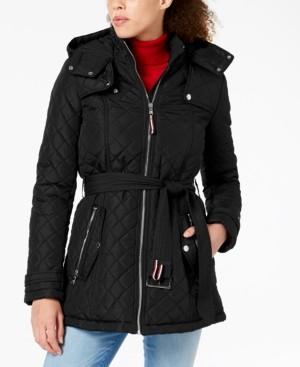 Tommy Hilfiger Petite Hooded Belted Raincoat
