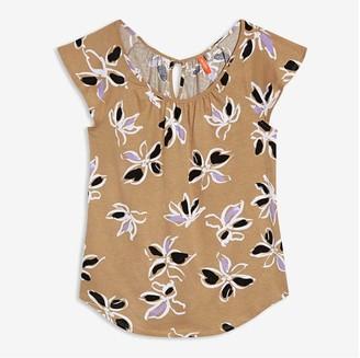 Joe Fresh Women's Flutter Sleeve Tee, Khaki Brown (Size XS)