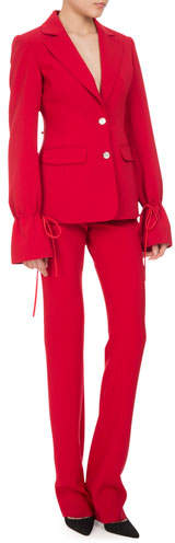 Altuzarra Bellardia Tie-Cuff Two-Button Jacket, Ruby