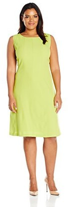 Kasper Women's Plus Size Short Sleeve Crepe Seamed Dress