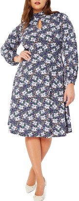 ELOQUII Floral Keyhole Detail Long Sleeve Fit & Flare Dress