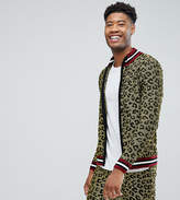 Asos Tall Knitted Lurex Track Jacket In Leopard Design
