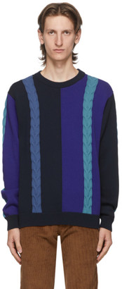 Paul Smith Navy Colorblock Crewneck Sweater