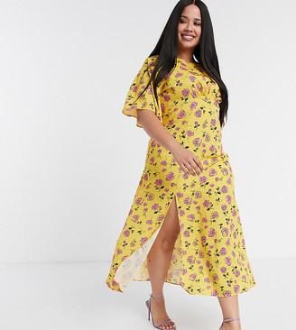 John Zack Plus fluted sleeve midi dress in yellow floral print