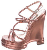 Dolce & Gabbana Metallic Wedge Sandals