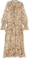 Zimmermann Ruffled Printed Silk-georgette Midi Dress