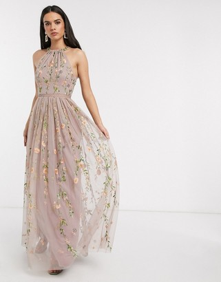 Asos DESIGN halterneck pretty embroidered floral and sequin mesh maxi dress in mauve